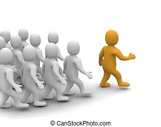 지도자, 지도, 그의 것, group., 3차원, 표현된다, illustration.