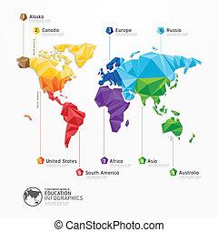 지도, 개념, 삽화, 벡터, 디자인, infographics, 세계, 기하학이다, template.
