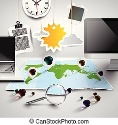 지도, 사무실, 도구, 명란한, 벡터, 세계, 3차원