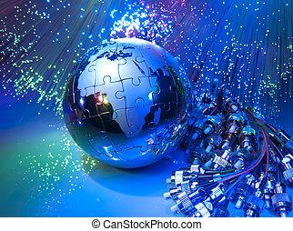 지도, 스타일, 광학의 섬유, 향하여, 배경, 세계, 기술