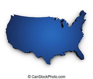 지도, 의, 미국, 3차원, 모양
