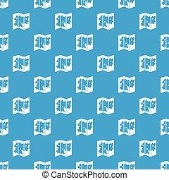 지도, 패턴, seamless, 파랑