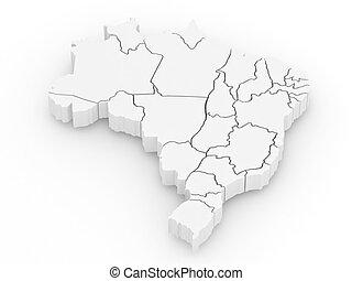 지도, brazil., 삼차원의, 3차원