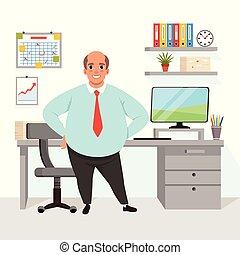 지방, 드러낸 남자, 에서, 사무실., 노동자, 에서, 형식적이다, clothing., 작업환경, 와, 테이블, 의자, 컴퓨터, 도표, 그래프, 선반, 와, 폴더, 꽃, 일, 서류, 통하고 있는, wall., 바람 빠진 타이어, 벡터, 디자인