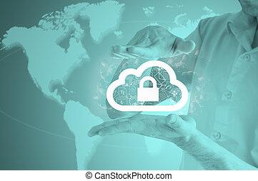 지불 준비를 하다, 구름, 정보, 자료, concept., 안전, 와..., 안전, 의, 구름, computing.