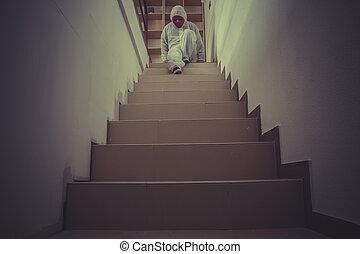 지적인, 무질서, 가면, 악몽, 종이, 한 벌, 하얀 빨강, 남자
