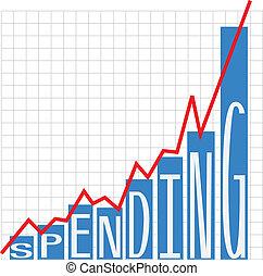 지출, 크게, 정부, 도표, 적자