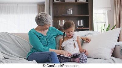 지출, 할머니, 함께, 시간, 손녀