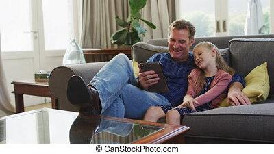 지출, 할아버지, 함께, 시간, 손녀
