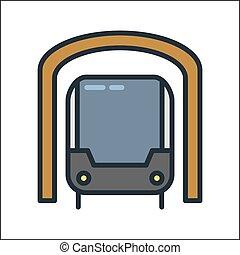 지하철, 아이콘, 색, 삽화, 디자인
