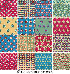 직물, seamless, 패턴, 세트, no.4