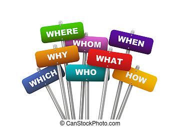 질문, 개념, 플래카드, 낱말, 3차원