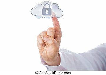 집게 손가락, 만지는 것, 자물쇠, 아이콘, 에서, 구름, 단추