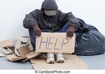 집이 없는, 앉아 있고 있는 사람, 통하고 있는, a, 거리