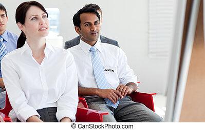 집중된, 실업가, 에, a, 회의