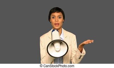 집중된, 여자 실업가, 말하는 것