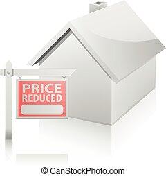 집, 가격, 감소하는, 표시