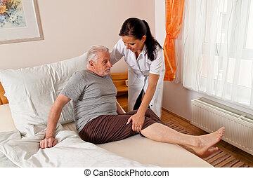 집, 간호, 나이 먹은, 간호사, 노인들, 걱정