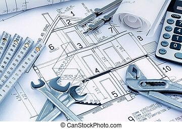 집, 계산기, 계획