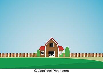 집, 고독한, 녹색의 풍경, 나무
