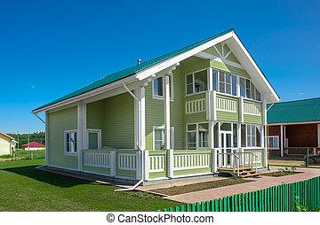 집, 교외에 있는, 근처, 녹색