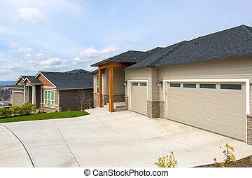 집, 근처, 건축되는, 교외에 있는, 습관, 새로운