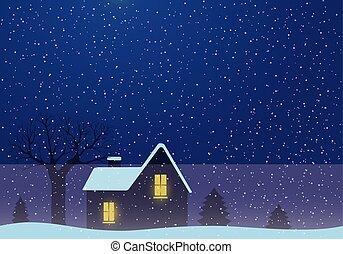 집, 나무., 겨울의 풍경