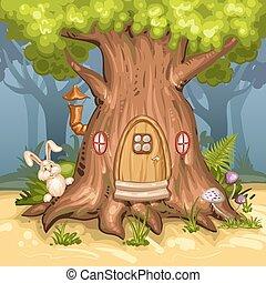 집, 나무 숲