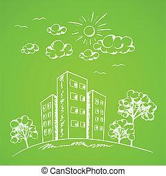 집, 녹색의 배경