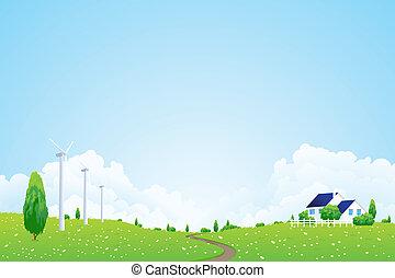 집, 녹색의 풍경