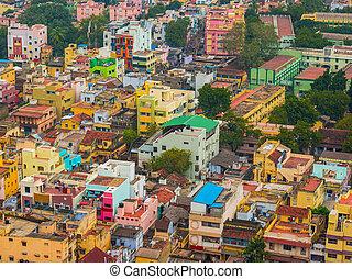 집, 다채로운, 은 군집했다, 인도 사람, trichy, tamil, 도시, nadu