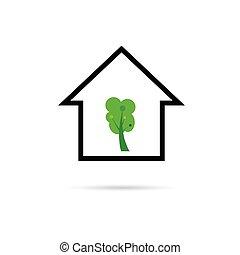 집, 벡터, 녹색 나무