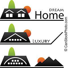 집, 벡터, 지붕, pictograms