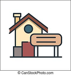 집 아이콘, 색, 삽화, 디자인
