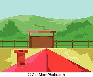 집, 와, 빨강, 지붕, 시골, 보이는 상태