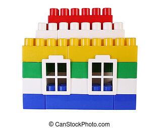 집, 장난감, 와, 창