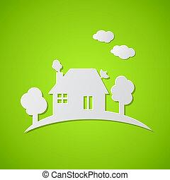 집, 종이, 녹색의 배경