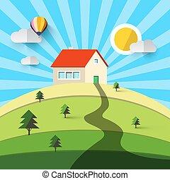 집, 통하고 있는, hill., 벡터, 바람 빠진 타이어, 디자인, 제자리표, 조경., countryside.