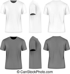 짧다, 목, 소매, 사람, 티셔츠, 둥근