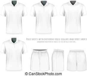 짧다, 셔츠 소매, shorts., 사람, 폴로, 스포츠