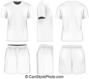 짧은 소매, shorts., 사람, 티셔츠, 스포츠