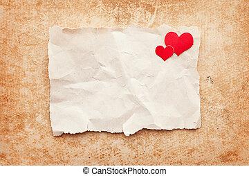찢는, 종이의 조각, 통하고 있는, grunge, 종이, 배경., 연애 편지