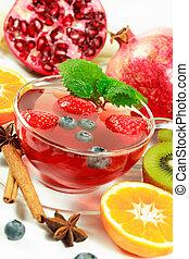 차, 과일, 겨울