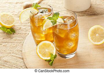 차, 레몬, 건강해지는 것, 얼음으로 덮인