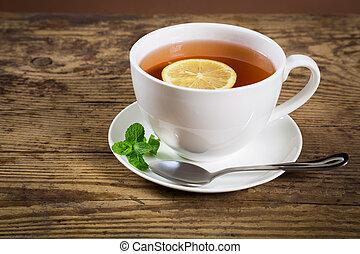 차, 박하, 레몬 잎, 컵