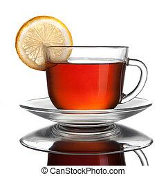 차, 백색, 레몬, 고립된, 컵