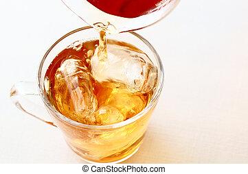 차, 얼음으로 덮인
