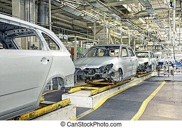 차, 연속적으로, 에, 자동차 공장