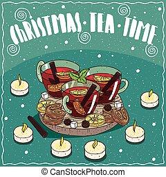 차, 쿠키, 찻잔, 크리스마스, 단 것