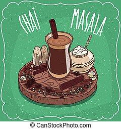 차, chai, 약초, 인도 사람, masala, 향신료